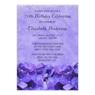 Purple Hydrangeas 70th Birthday Party Invitations