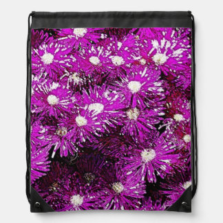 Purple Ice Cap Abstract Drawstring Backpack