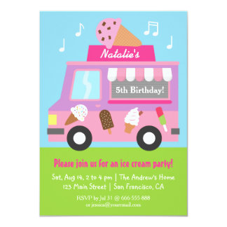 Purple Ice Cream Truck Birthday Party invitations