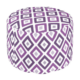 Purple Ikat Diamond Pattern Pouf