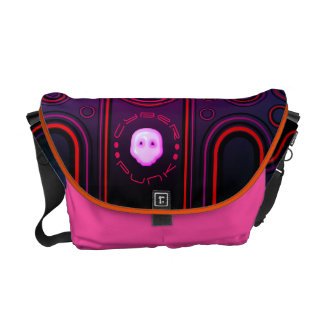 Purple Industrial Cyber Punk Robot Futuristic Messenger Bag