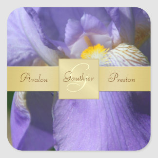 Purple Iris Monogram Wedding Sticker
