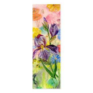 'Purple Iris' Small Bookmark Pack Of Skinny Business Cards