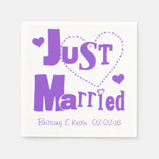 Purple Just Married Disposable Paper  Napkins Paper Napkin