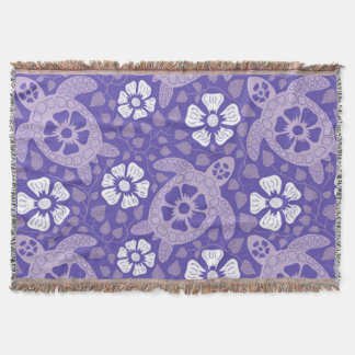Purple Kauai Turtles Throw Blanket