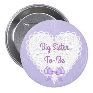 Purple Lacy Big Sister-To-Be Baby Shower Button