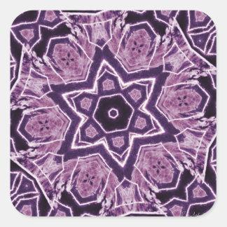 Purple Laser Flower Square Sticker