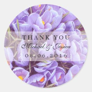 Purple Lavender Floral Thank You Label Stickers