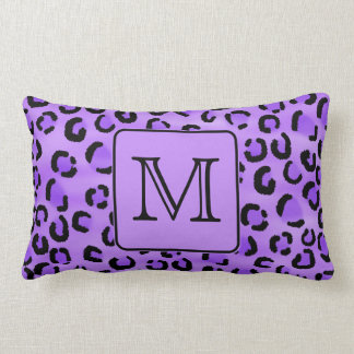 Purple Leopard Print Custom Monogram. Lumbar Pillow