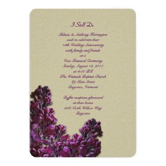 Purple Lilac and Burlap Anniversary Vows Invite