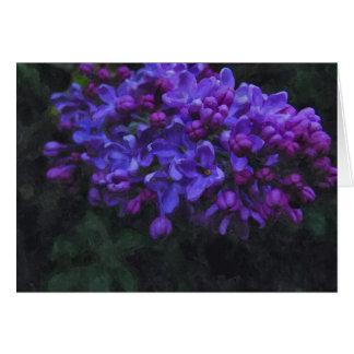 Purple lilac at dusk greeting card