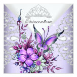 Purple Lilac Butterfly Tiara Quinceanera Floral 13 Cm X 13 Cm Square Invitation Card