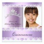 Purple Lilac Tiara Quinceanera 15 Birthday Party Custom Invitation