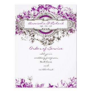 Purple Lilac Vintage Floral Wedding Program 5.5x7.5 Paper Invitation Card