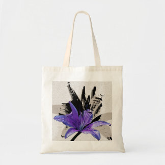 Purple Lilly Abstraction Tote Bag