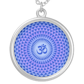 Purple Lotus flower meditation wheel OM Silver Plated Necklace
