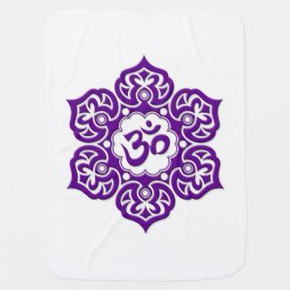 Purple Lotus Flower Om on White Receiving Blanket