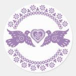 Purple Lovebirds Envelope Seal Round Sticker