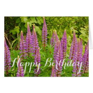 Purple lupine floral print card