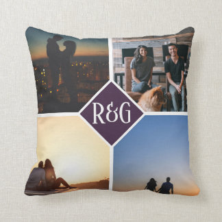 Purple Make Your Own Personalised 4 Photo Monogram Cushion