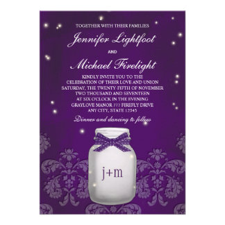 Purple Mason Jar with Fireflies Wedding Personalized Announcements