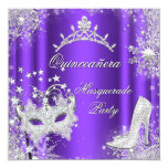 Purple Masquerade Quinceanera 15th Party Tiara 13 Cm X 13 Cm Square Invitation Card