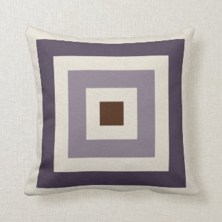 Purple Mauve Plum Geometric Squares Cushion