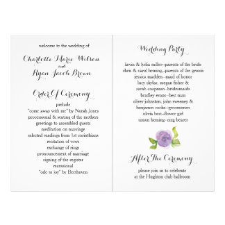 Purple Modern watercolor floral wedding program 21.5 Cm X 28 Cm Flyer