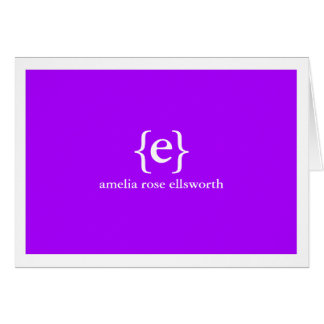 Purple Monogram Personal/Business Notecards Card