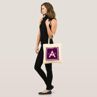 Purple Monogram Personalised Tote Bag