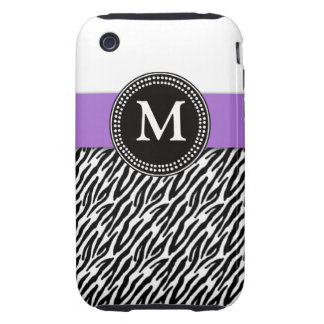 Purple Monogram Zebra Pattern iPhone 3 Case-Mate iPhone 3 Tough Covers