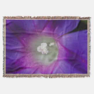 Purple Morning Glory Macro Throw Blanket