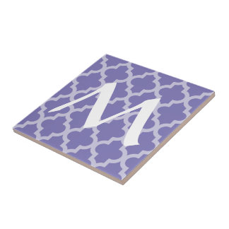 Purple Moroccan Moods Quatrefoil with Initial Small Square Tile