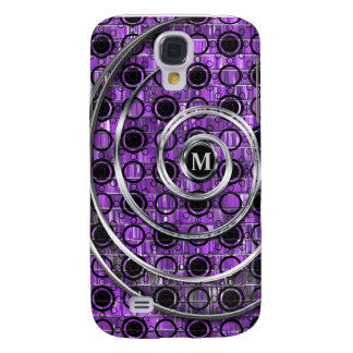 Purple Mosaic, Black & Silver Swirls Dots Monogram Galaxy S4 Case