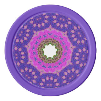 Purple Mosaic Fractal Poker Chips