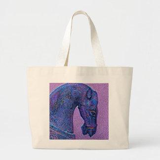 Purple mosaic Tang Dynasty horse Large Tote Bag