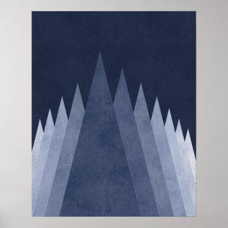 Purple mountains Modern minimal geometric art Poster
