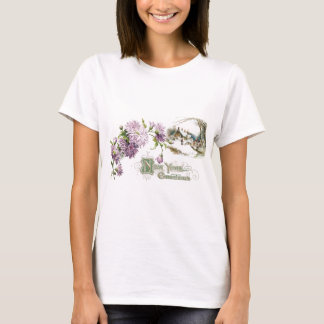 Purple Mums Vintage New Year with Vignette T-Shirt