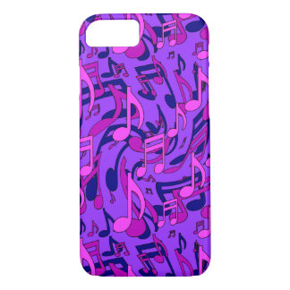 Purple Music Pattern Pink Musical Notes iPhone 7 Case