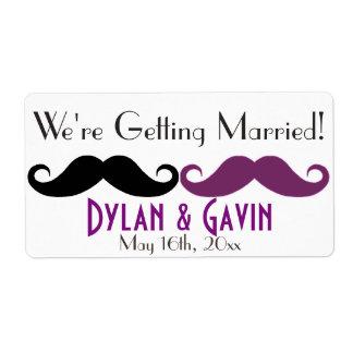 Purple Mustache Gay Wedding Shower Water Bottle Shipping Label