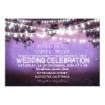 purple night & garden lights rustic wedding personalized announcement