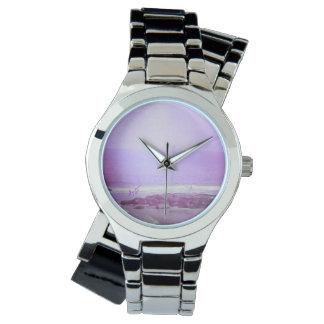 Purple Ocean & Sky Silver Wraparound Watch