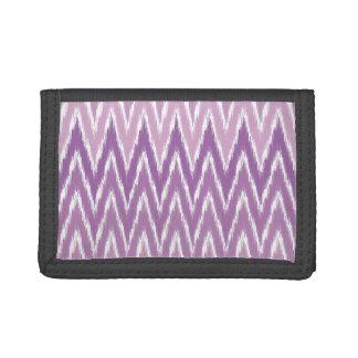 Purple Ombre Ikat Chevron Zig Zag Stripes Pattern Trifold Wallet