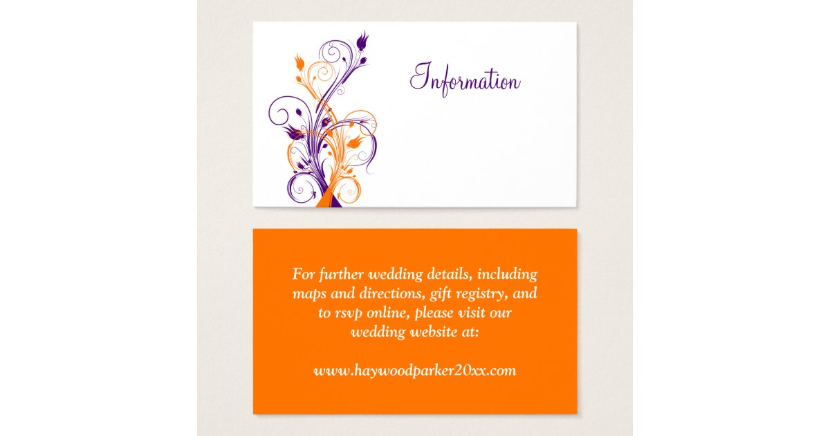 Purple orang white floral wedding enclosure card zazzle