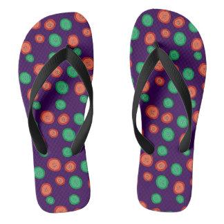 Purple, orange & green button dots. Unique cool. Thongs