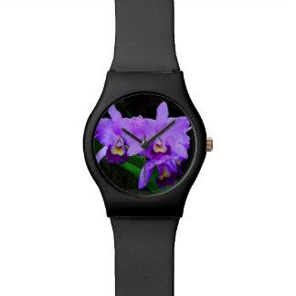Purple Orchid Flower Wristwatch