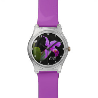 Purple Orchid with Customizable Monogram Watch