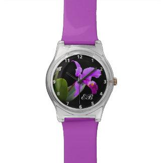 Purple Orchid with Customizable Monogram Wristwatch