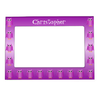 Purple Owl Just Add Name Magnetic Picture Frame
