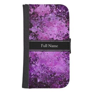 Purple paint splatter grunge texture samsung s4 wallet case